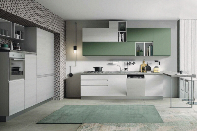 cucina bloccata bianco verde