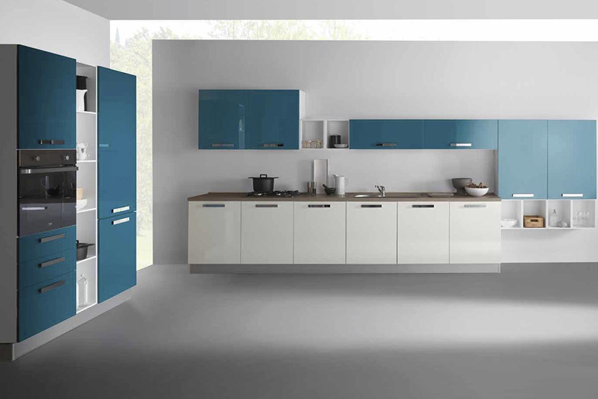cucina Kira colore petrolio bianco