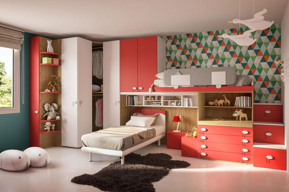 cameretta moderna SM06 colore rosso